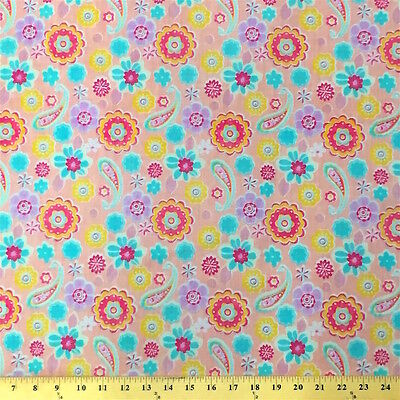 Lenox Pink Print Fabric Cotton Polyester Broadcloth By The Yard 60