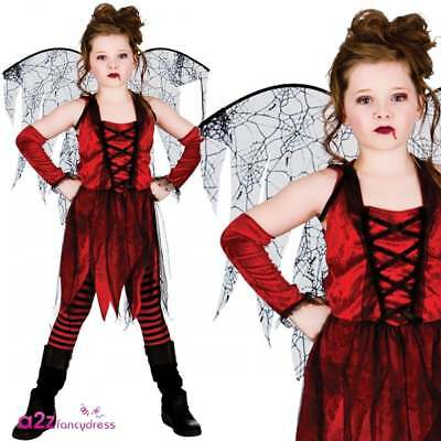 Vampire Fairy Kids Girls Halloween Gothic Vampiress Fancy Dress Costume 5-13 Yrs