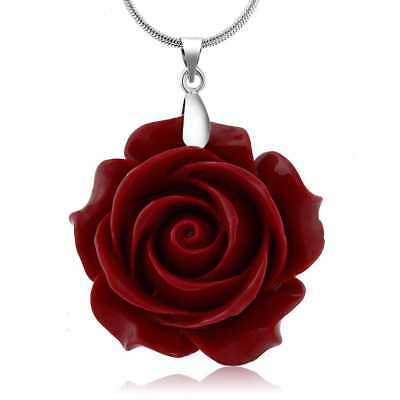 35mm Red Simulated Coral Carved Rose Flower Pendant With 16