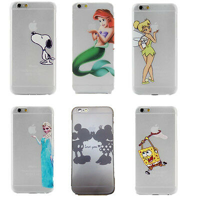 Cartoon Disney Characters Matte Clear Ornament Hard Case Cover For iPhone Series