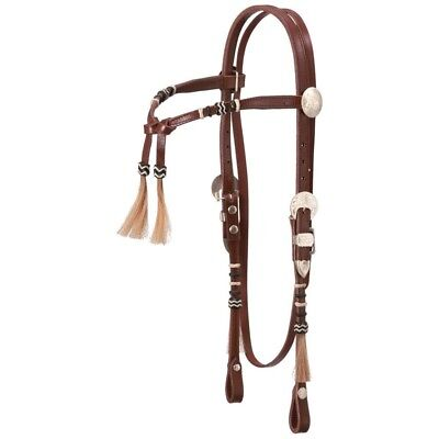 Tough-1 Royal King Rawhide Braided Futurity Brow Headstall Horse Natural