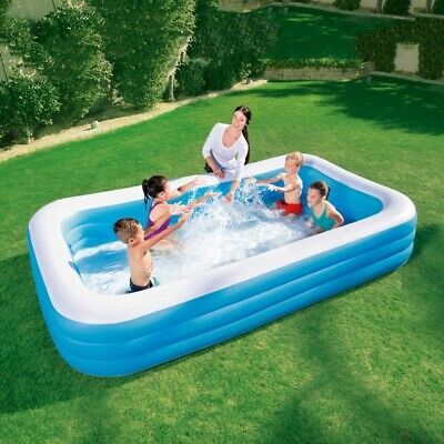 DELUXE RECTANGULAR SWIMMING POOL INFLATABLE KIDS CHILDRENS PADDLING GARDEN PLAY