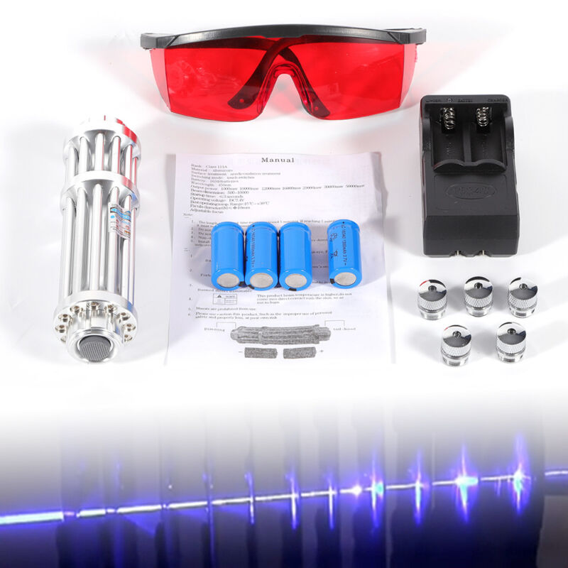 High Power Blue LASER LIGHT 450nm Beam VISIBLE High-Power BURNING Lazer + Box US