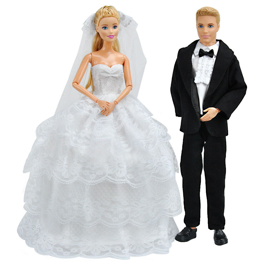 Купить E-TING Wedding Gown Dress Clothes + Formal Suit Outfit For Barbie Ken Doll S