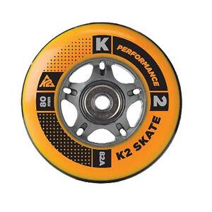 K2 Inliner Rollen Set 8 Stück 80mm 82A + Kugellager + Spacer für Inline Skates