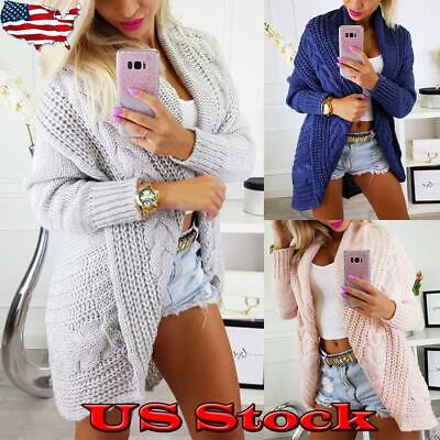 Winter Women's Sweater Ribbed Cardigan Ladies Cable Knit Coats Loose Casual US Cable Knit Ribbed Sweater