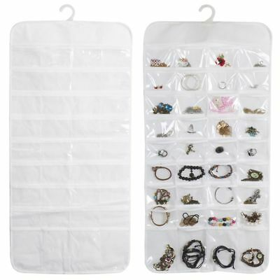 72 Pocket Jewelry Hanging Organizer Storage Holder  Earring Bag Pouch Display US