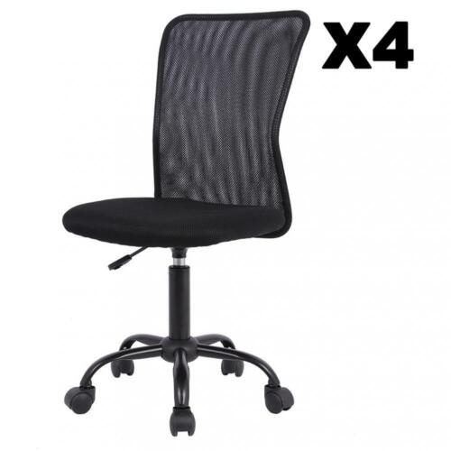 1/2/3/4 Pcs Mid-Back Mesh Office Chair Computer Task Swivel Seats, Black/Pink