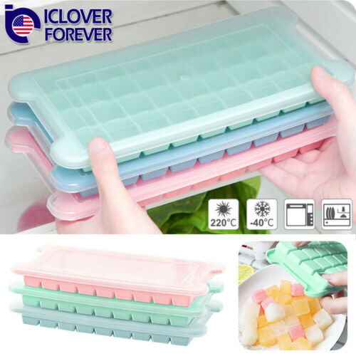 36 Cell Ice Cube Tray With Cover Whiskey Ice Molds Maker For
