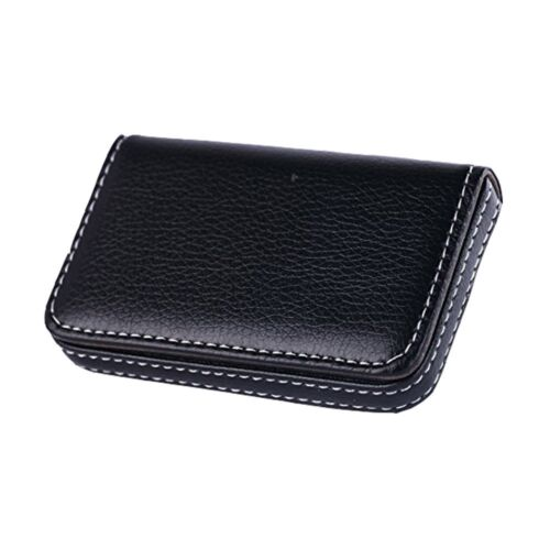 New Black Pocket PU Leather Business ID Credit Card Holder Case Wallet