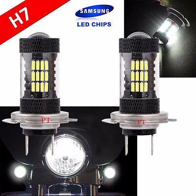 H7 Samsung (1 Pair) LED 57 SMD White Xenon 6000K Headlight Light Bulb Motorcycle