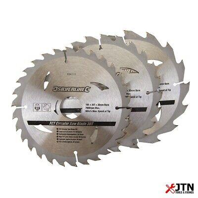 Silverline 934115 Tct Circular Saw Blades 3 Pack 16 24 30 Teeth 165mm X 30mm