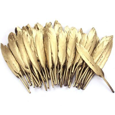 72pcs 4''-6'' Gold Feathers DIY Craft Wedding Party Dress-up Decor Hair - Hair Dress Up