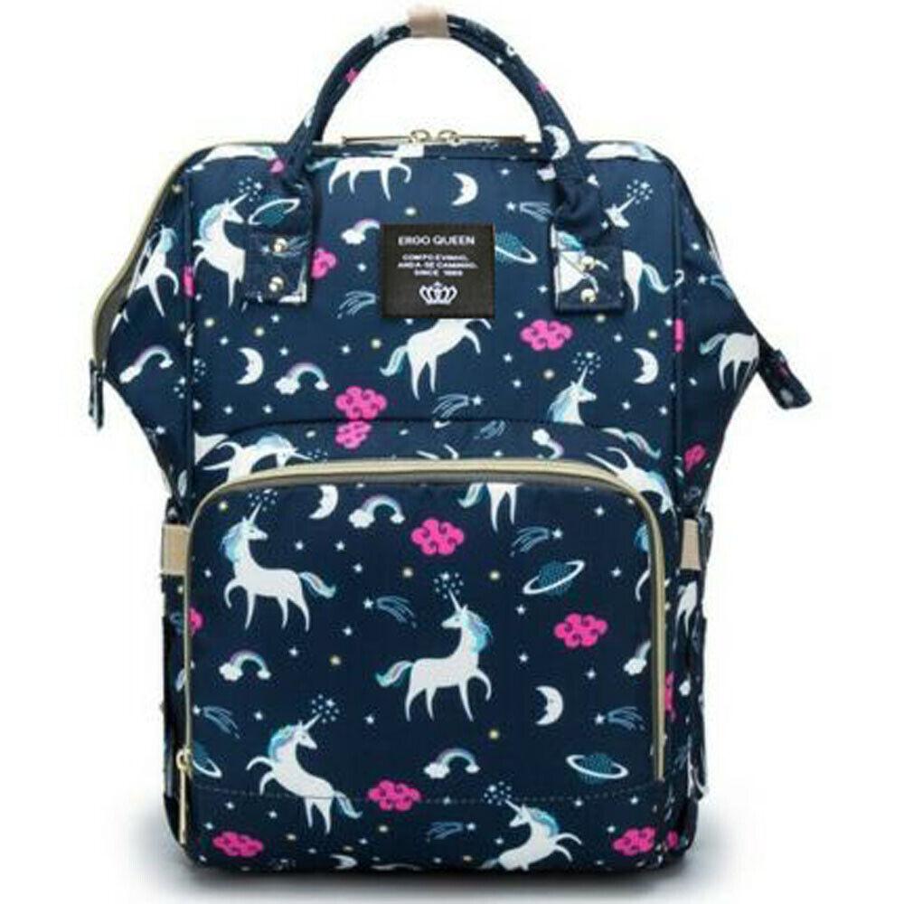 Ergo Diaper Bag Backpack Mummy Maternity Nappy Large Capacity Baby Bag Travel  Navy Unicorn