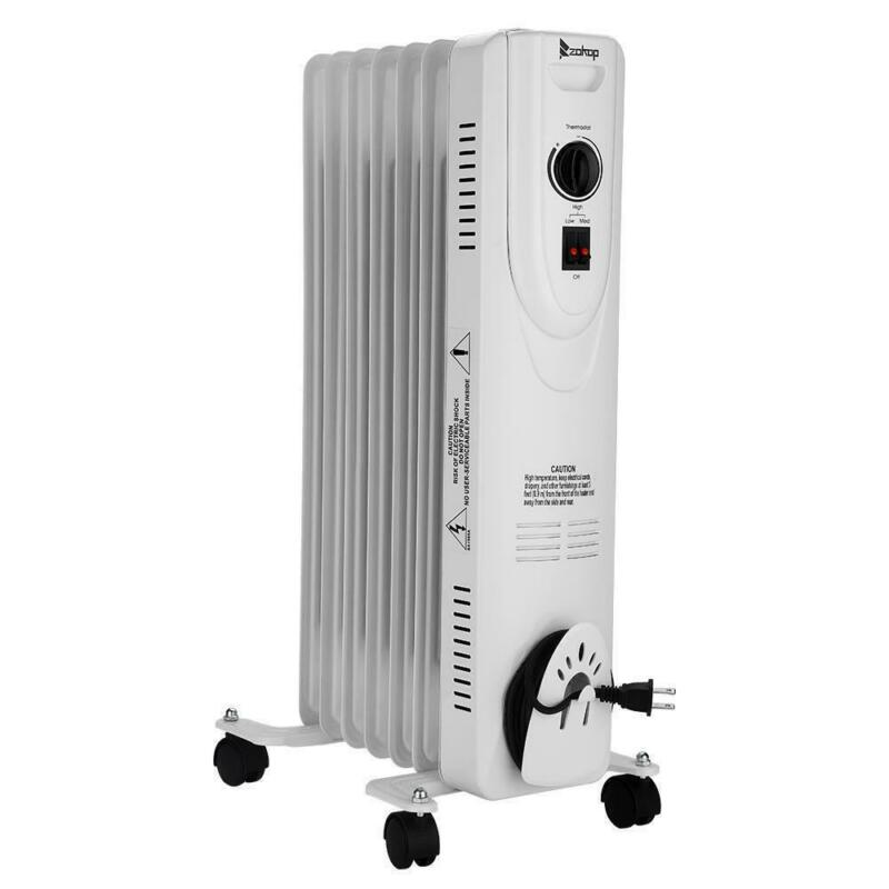 Upgrade 1500W Portable Space Heater Oil Filled Radiator with Overheat Protection