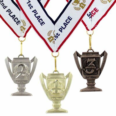 1st 2nd 3rd Place Cup Star Award Medals - 3 Piece Set (Gold, Silver, Bronze)  - First Place Medal