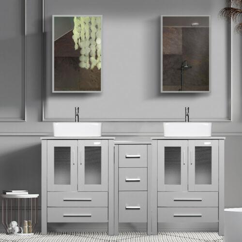 "60"" Bathroom Vanity Set Gray Ceramic Vessel Sink Modern w/ Faucet Mirror Combo"