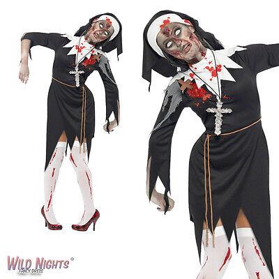 Halloween Fancy Dress # Ladies Bloody Zombie Nun Sister Costume Size 8-22