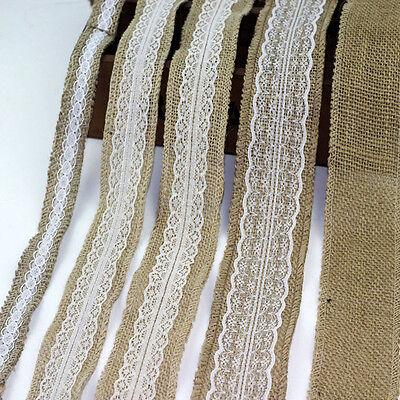 Hot 5M Natural Lace Jute Burlap Hessian Floral Edge Rustic Ribbon Wedding Decor