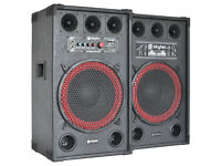 "Skytec SPB-12 Active/Passive 12"" PA Speakers Pair Home DJ - Karaoke - Music Party - Monitors Amp Etc"