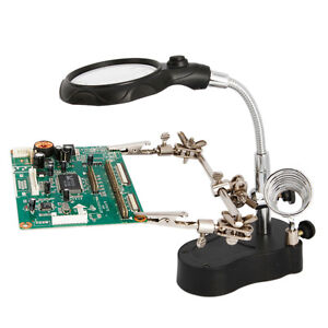 Hand-Soldering-Iron-Stand-Helping-Hand-vise-Clamp-Tool-Magnifying-Glass-New