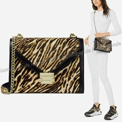 NWT🐆Michael Kors Whitney Large Shoulder Bag Haircalf Leopard Butterscotch (Michael Kors Animal Print Bag)