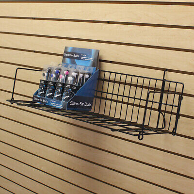 Deep Angled Slatwall Shelves In Powder Coated Steel With 10 D X 48 Long Inch