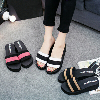 Women Fight Brown Sandals With Dragons  Round Toe  Flip-flops Stripe Shoes