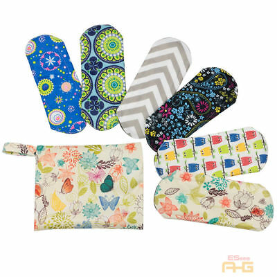 6X Waterproof Reusable Bamboo Sanitary Menstrual Cloth Pads Liners+Free Bag Lady
