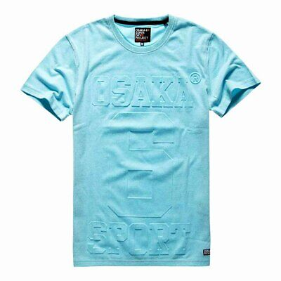 Superdry Mens Osaka 6 Embossed Tee T-Shirt Aquamarine Grit Sizes: Small, Large