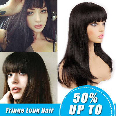 Women Long Straight Synthetic Hair Wigs with Bangs Half Wigs Cosplay Party Wigs - Party Wigs