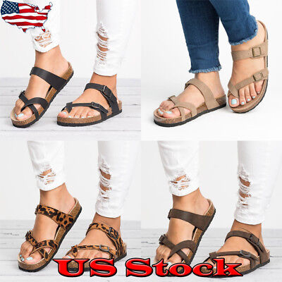 Womens Double Strap Slide Sandals Flip Flops Flat Comfort Slipper Shoes Size US