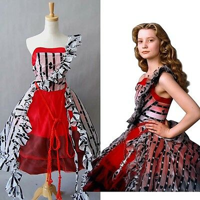 Tim Burton Alice In Wonderland Red Queen Court Ball Gown Cosplay Costume Dress  - Alice In Wonderland Tim Burton Dress