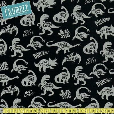 Kokka Fabric CANVAS Jurassic Life Black HALF METRE for sale  Birmingham