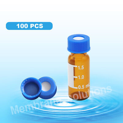 100pcs Auto Sample Vial Chemical Solutions Storage Amber Vialcapptfe Pre-slit