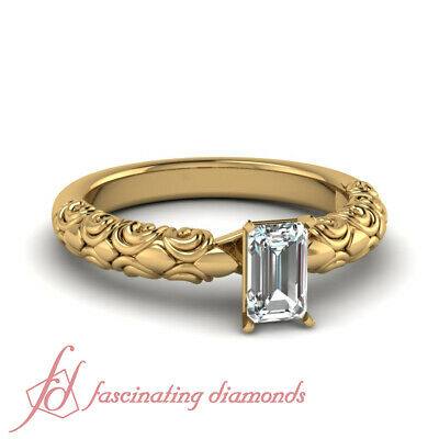 .90 Ct Emerald Cut Diamond Solitaire Filigree Engagement Ring In Yellow Gold GIA