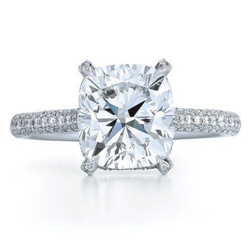 GIA Certified 4.16 Carat Cushion Cut Diamond Engagement Ring 18k White Gold