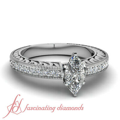 .70 Ct Marquise Cut Diamond Vintage Engraved Engagement Ring Pave Set SI2 GIA