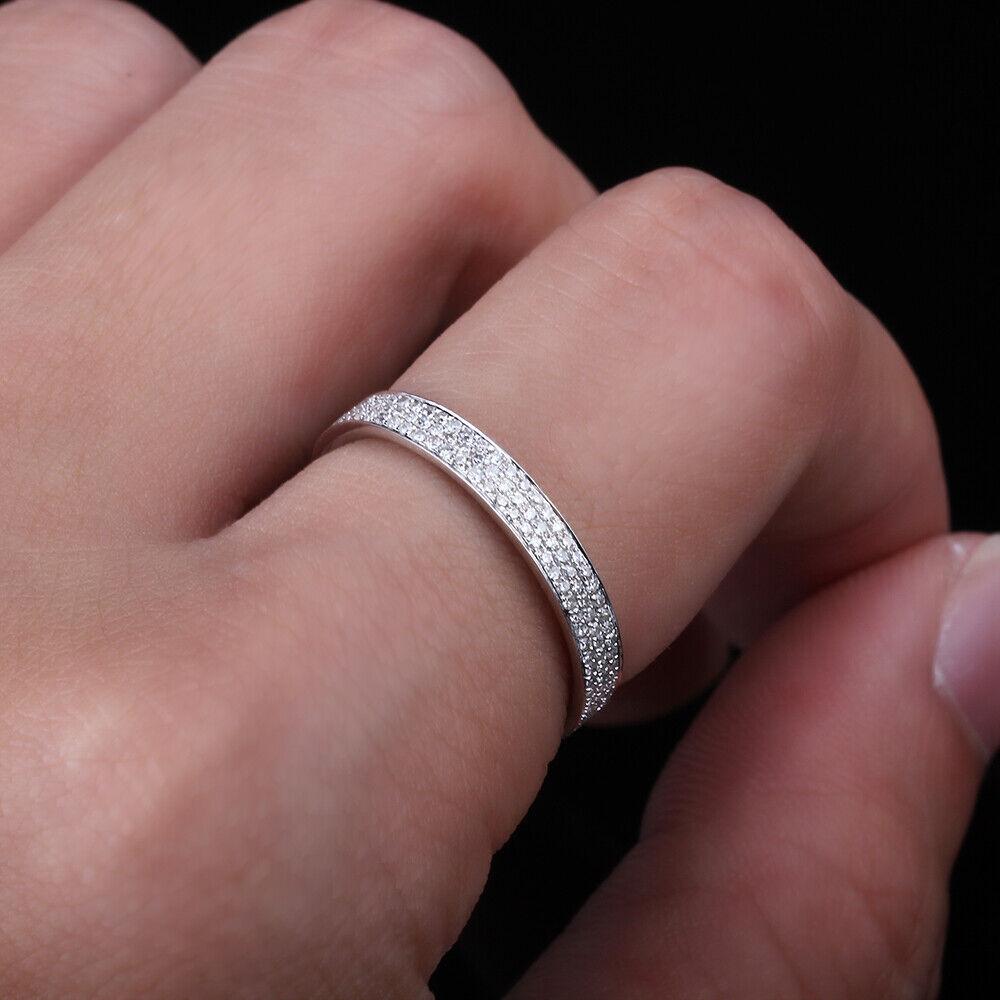 10K White Gold Eternity! Milgrain Pave Natural Diamond Wedding ...