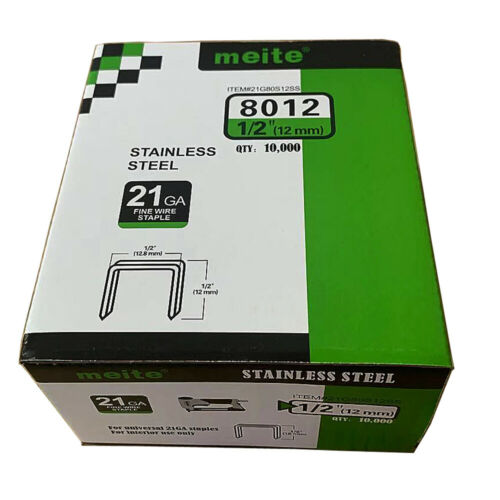 """meite 21GA 1/2-inch Crown 1/2"""" Length 304 Stainless Steel Upholstery Staples"""