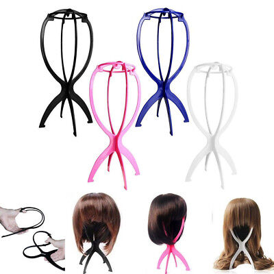 Hair Wig Stand Folding Portable Display Mannequin Hat Stable Holder 3 Pack Pink ()