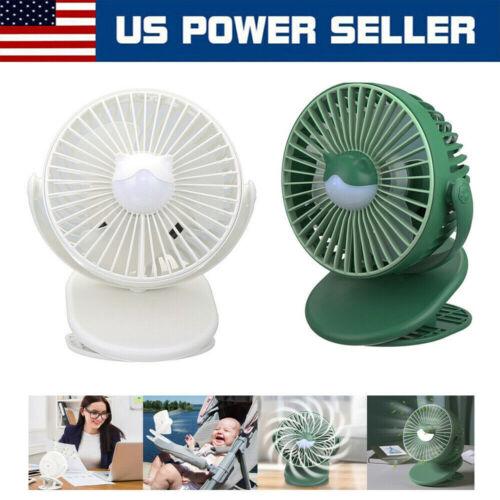 Portable Clip Fan 360° Degree Rotation 4 Speed Rechargeable Battery Mini Fan USA