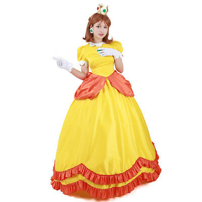 Super Mario Dress Up Costume (Super Mario BROS Princess Daisy Cosplay Costume Women Dress)