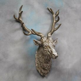NEW Large Wall Mounted Stags Head ~ Antique Bronze Silver White or Gold Effect Stags head