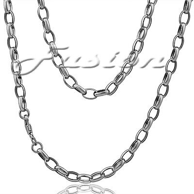 Solid Sterling 925 Silver Strong Oval Belcher Chain Necklace