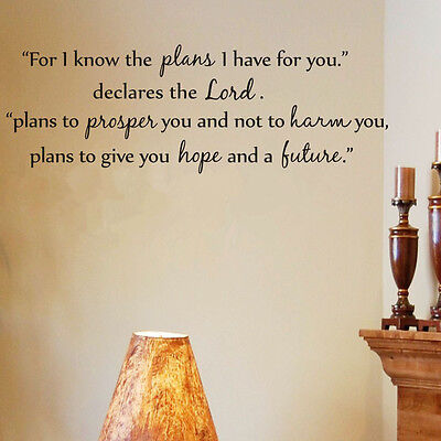For I Know The Plans Vinyl Wall Quote Decal Sticker Home Room Decor Us Stock