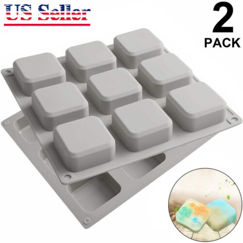 2Pcs Silicone Soap Molds 9 Cavities Square DIY Handmade Soap Making Mold Gift
