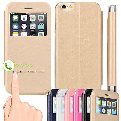 Flip Leather  View Window Skin Case Cover Skin For Apple Iphone 6   6 Plus