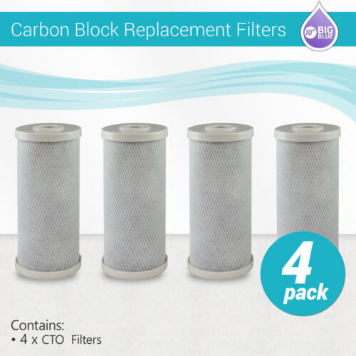 """4 Packs Big Blue Carbon Block Replacement Water Filter 4.5"""" x 10"""" Whole House"""