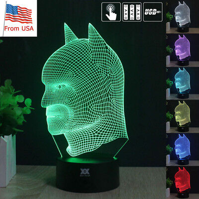 Batman 3D Acrylic LED Touch Night Light 7 Color Touch Desk Table Lamp Kid Gifts (Batman Table)